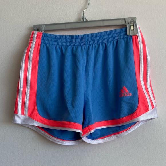 Adidas light blue and neon jogging shorts medium
